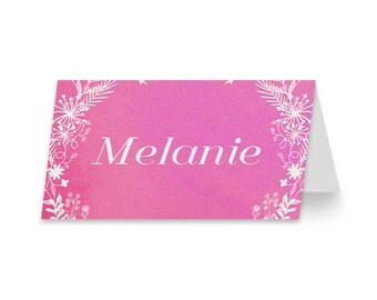 Pink Wedding Place Card | DIGITAL FILE | Garden Flame | Printable DIY Wedding Invite, Wedding Reception, Name Card - Set of 10