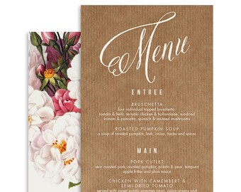 Botanical Wedding Menu | Aurora | Printable DIY Wedding Invite, Wedding Reception