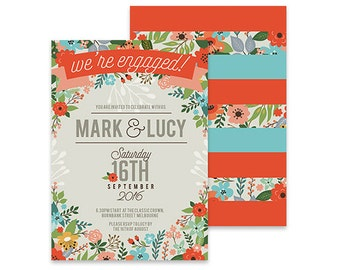 Floral Engagement Invitation | Summer Foliage | Printable DIY Wedding Invite | Engaged Invite, DIY Party Invite