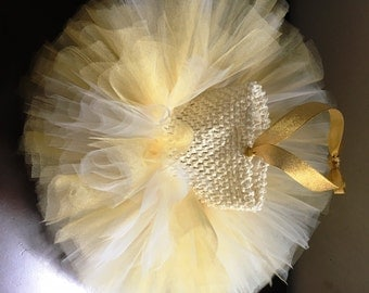 Tutu dress. Gold and Ivory