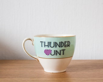 Thunder C*nt | Custom Swear Teacup | Made To Order | Funny Rude Insult Obscenity Profanity | Unique Gift Idea