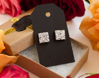 Silver Square Druzy Stud Earrings - Great Bridesmaid or Wedding Gift!