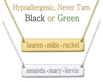 Gift for Mom, Name Necklace, Monogram Necklace, Gold Bar Necklace, Custom Name Necklace, Personalized Name Necklace
