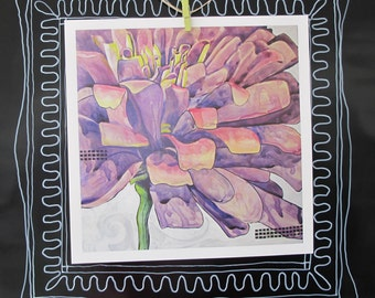 Home Decor Wall Print purple Zinnia