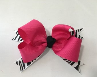 Black Zebra Print Spike Stacked Bow