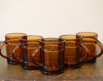 Anchor Hocking Fire King Amber Barrel Mugs | Set of 5 Oven Proof Mugs