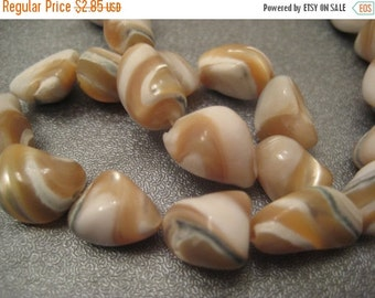 ON SALE Caramel Mother Of Pearl Nuggets Beads 36pcs