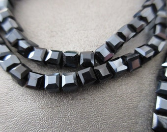 Chinese Crystal Faceted Cubes Beads 98pcs Black Gunmetal