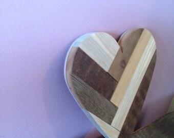 Multi-barnwood 12 inch herringbone heart