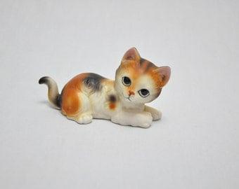 One (1) Vintage Hand Decorated Ceramic Cat
