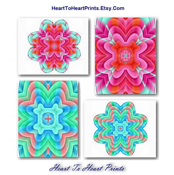 Teal Medallion Wall Decor : Items similar to teal coral red mint floral wall decor