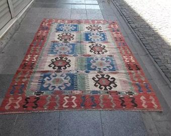 faded red 6x4 kilim rug, vintage kilim rug  MN208