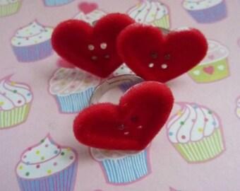 Girl's red velvet heart button ring
