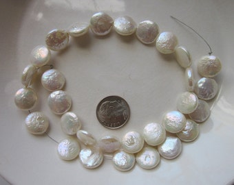 """White Freshwater Coin Pearls, 11- 12mm, 15"""" Strand"""