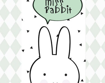 Wall print nursery art cute print kids room decor Rabbit prints