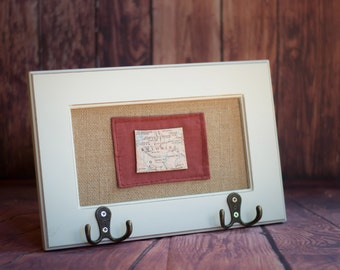 Wyoming State Map Frame with Hooks, burlap backing, state puzzle pieces, maroon hand-sewn