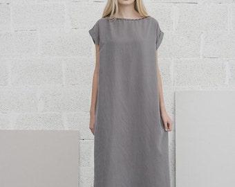 SALE 30%, Gray Maxi Dress, Caftan Dress, Oversized Dress, Flowing Dress, Long Summer Dress, Boat Neck Dress, Day Dress, Loose Dress, FREE...