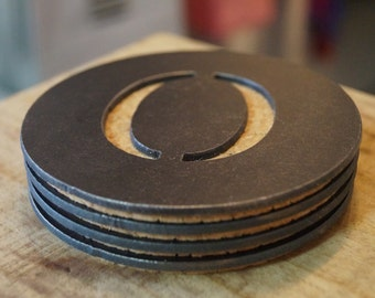 "Round Metal Coaster - Initial ""O"""