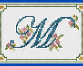 Alphabet Letter M Cross Stitch Kit by Florashell Cross Stitch Design