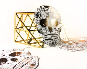 Day of the Dead Skull Garland- Halloween favor- Gold Foil