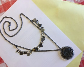 Double chain leaves and flower necklace