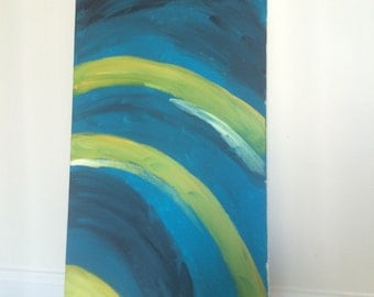 Deep Turquoise Painting 12 x 24 inches