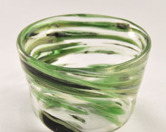 Green on Clear Offering Bowl