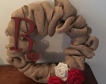 Personalized Small Burlap Wreath
