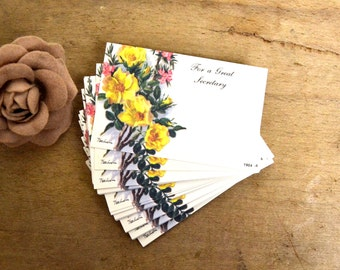 vintage 45 secretary flower note cards / tags