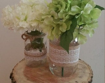 Rustic - Wedding Centerpiece - Mason Jar Centerpiece -