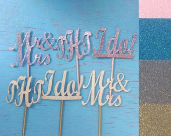 Wedding engagement cupcake toppers glitter gold silver I do Mr Mrs Monogram