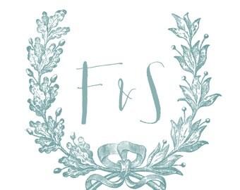 Wedding Engagement Logo/Brand With Wreath