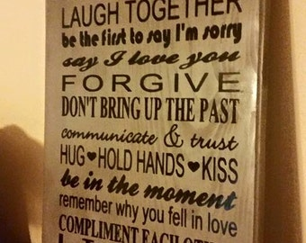 Rules To A Happy Marriage Wall Decor, 12 x 24 Sign, Wedding, Shower, or Anniversary Gift, Bride and Groom, Home Decor, Home and Living Decor