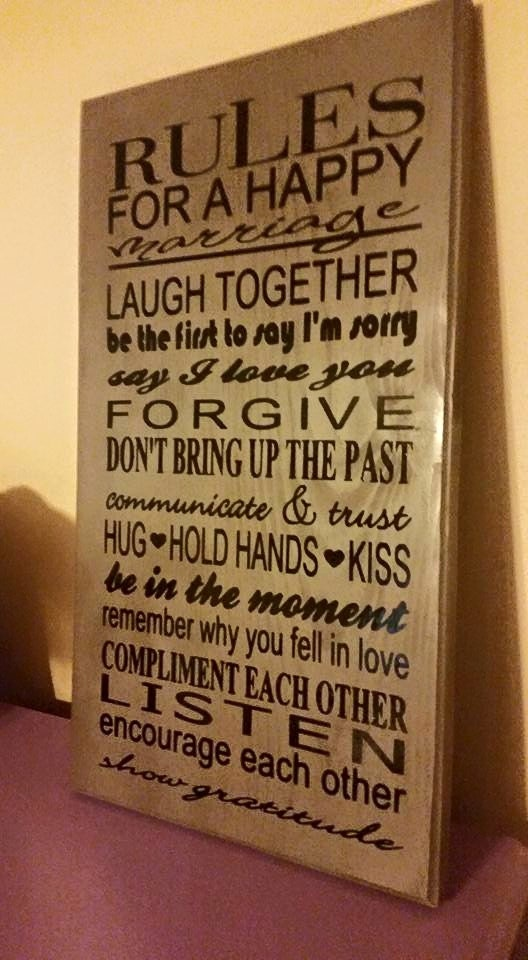 Rules To A Happy Marriage Wall Decor 12 X 24 Sign Wedding