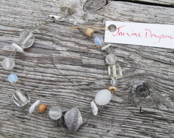 White Shell Bracelet made in Dorset by Janine Drayson
