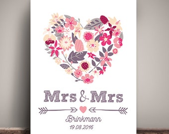 A3 Mrs & Mrs - art print, wedding day wall picture, print, gift wedding, lesbian wedding lesbian wedding