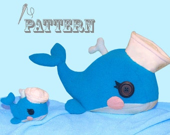 PDF Pattern, Whale Plush with Sailor Hat