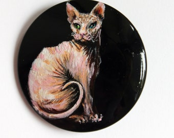 Button Sphynx Cat hand-painted