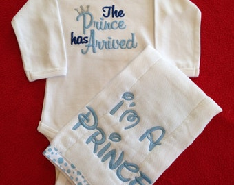 """Burp cloth embroidered with """"I'm A Prince"""" by That's Sew Mimi"""