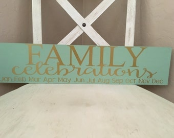 Family celebration board- sage and gold
