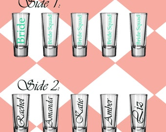 DIY Personalized Wedding Party Shot Glass Decals set of 4 name and title 2 sides