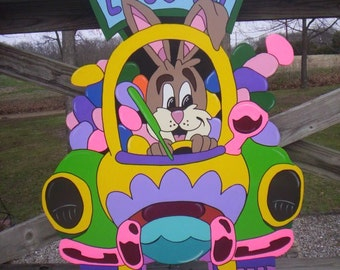 Easter Bunny Driving with Car Full of Eggs Yard Art Lawn Decoration