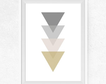 Triangle Wall Art, Triangle Printable, Grey, Beige, and Mustard Triangles, Scandinavian Art Print, Geometric Triangle Art - #0251