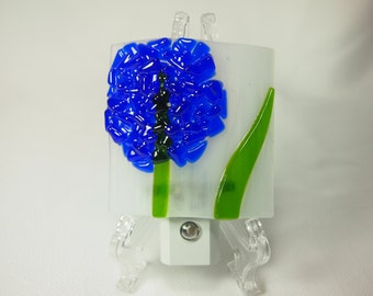 Night Light - Blue Flower Fused Glass