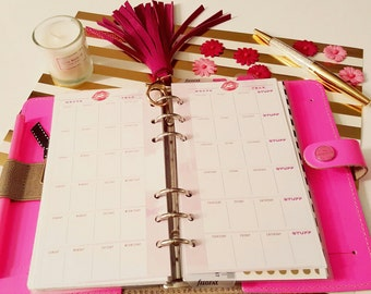 Month on 2 pages Planner Inserts -Personal size, fits Filofax personal, Kikki K Medium & Kate Spade Planner - SASSY COLLECTION