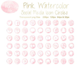 Pink Watercolor Social Media Icons with Soft Pink Watercolor Texture Finish. Commercial Use, Pink Watercolour Blog and Website icons