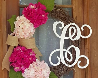 Hydrangeas on grapevine wreath