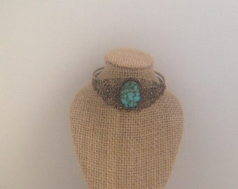 Simulated Turquoise Centered on Brass Filigree and Brass Cuff Bracelet