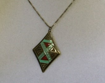 Antique Brass Tribal Pendant Necklace