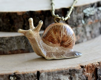 Hand Painted Porcelain Snail Necklace, Antique Bronze Chain, Vintage Style Slug, Ceramic Animal Pendant & Chain (CA136)